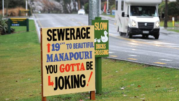One of the early protest signs, in 2014, for the Te Anau-Manapouri sewerage scheme.