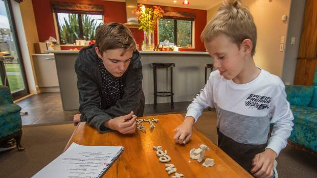 Brothers John, 15, and Matthew Elliot, 7, who both have dyslexia, working on a word-association exercise.