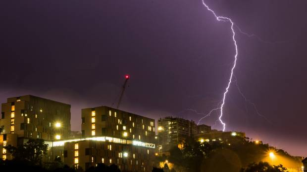 The Lightning Strikes Above Victoria Universityu0027s Kelburn Campus On Tuesday  Night.