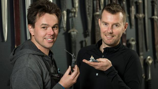 Weta Workshop collectibles head of department Leonard Ellis, left, and concept designer and author Daniel Falconer who ...