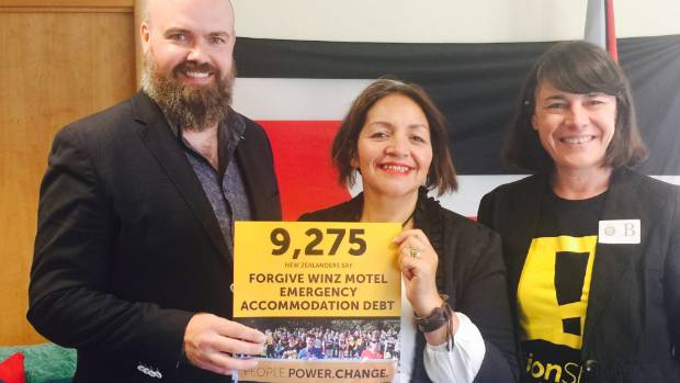 Action Station members Kyle MacDonald and Marianne Elliott talked about their petition to wipe WINZ debt with Maori ...