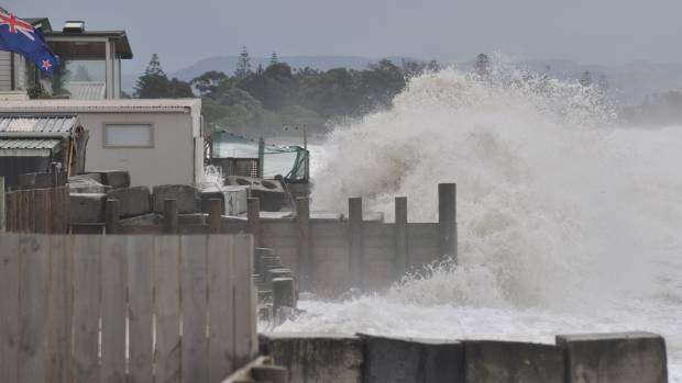 People in low lying areas such as Haumoana, pictured, were advised to evacuate eventually
