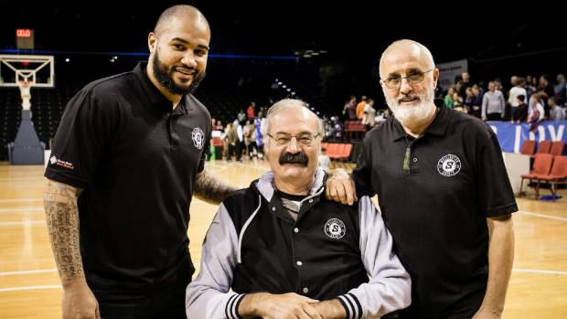 Wellington Saints chairman Justin Toebes, centre, with head coach Kevin Braswell, left, and team manager Phil Hartley ...