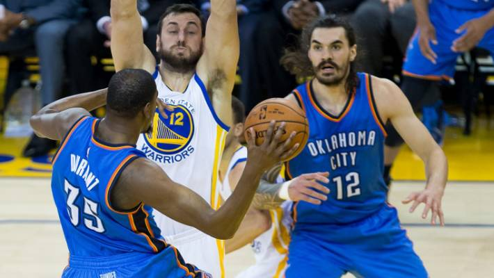 07ee553af88d Steven Adams looks to receive a pass from Thunder teammate Kevin Durant  during game seven of