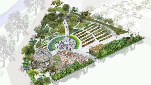 An artist's impression of the Otakaro Orchard, a design to which more than 200 people contributed in 2015.