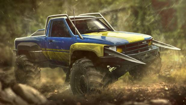 Wolverine likes a classic: 1988 Toyota Hilux with all the trimmings (well, some big blades).