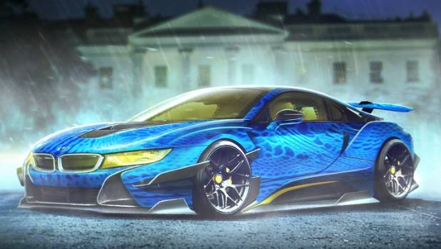 Mystique's car is a perfect scaly model of the BMW i8.