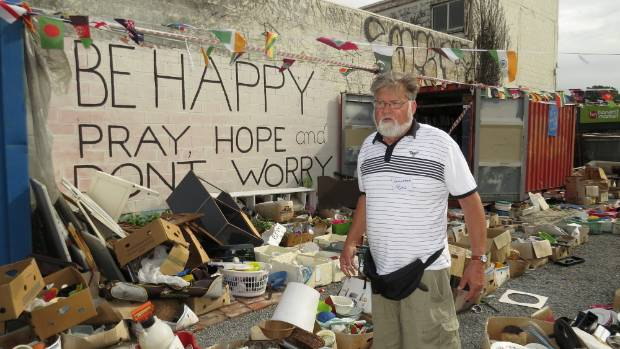"""Owner-volunteer Baz Hailes in the Charity Barn, a """"permanent garage sale"""" on the border of Waltham and Linwood"""