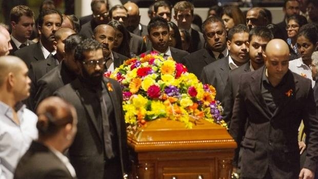The funeral for Myuran Sukumaran in Sydney last year.