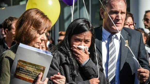Febyanti Herewila, wife of Andrew Chan, at the funeral for her husband in Sydney last year.