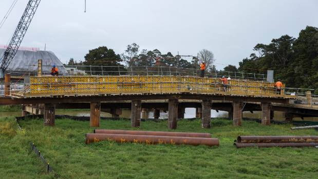 A temporary staging bridge has been built across the Mangawara Stream along the Huntly section of the Waikato Expressway.