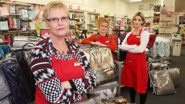 Bed Bath and Beyond employees, from left, Christine MacDonald, Annie Cox and Michelle Raynel get upset when people ...