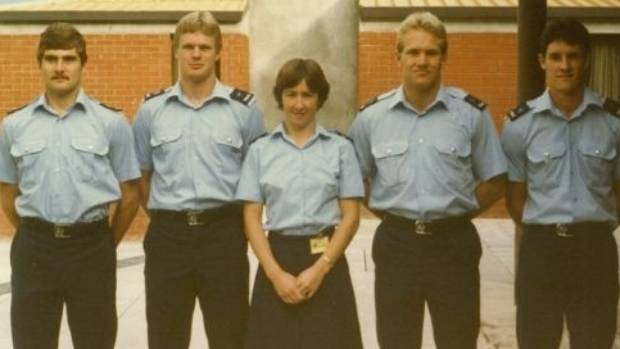 Fleur Hansby and her classmates graduating from Porirua Police College in 1983.