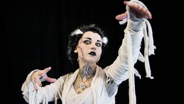 Jolene Tempest dressed at the Bride of Frankenstein at the Armageddon convention.