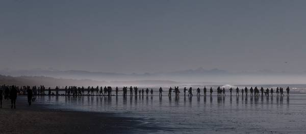 A human chain helps move water to the stranded whale on Christchurch's Waimairi Beach.