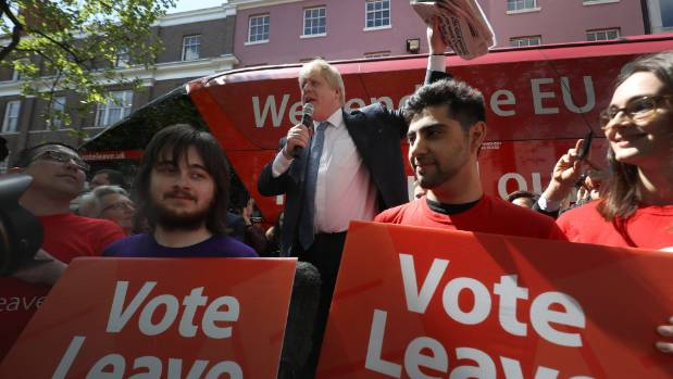 Boris Johnson MP addresses members of the public during the Brexit Battle Bus tour of the UK.