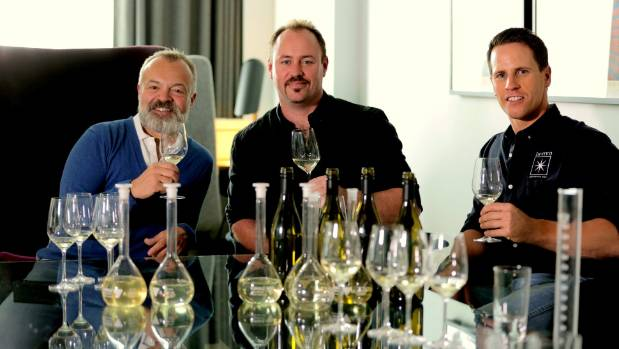 Graham Norton with Invivo Wines founders Rob Cameron (centre) and Tim Lightbourne (file pic).