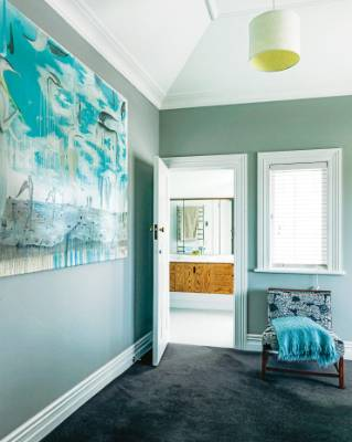 Bill Hammond's painting Lemonbone Limbo Ledge hangs in the master bedroom – it provided the inspiration for the ...