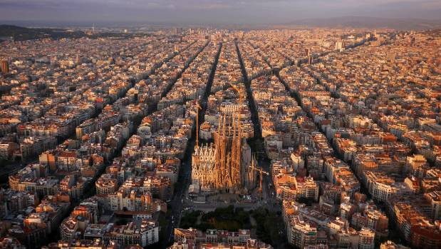 Barcelona, and the Sagrada Familia, shot from a drone.