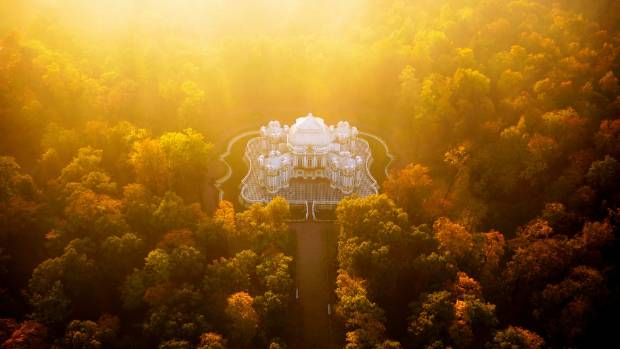 The Hermitage Pavilion in Saint Petersburg, Russia, wreathed in dawn mist.