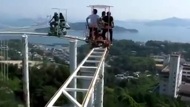 Take A Ride On Japans Terrifying SkyCycle Roller Coaster Where - Pedal powered skycycle rollercoaster japan amazing