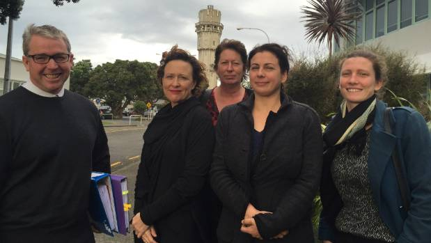 Taranaki Energywatch's delegation from left: Greg Carlyon, Louise Wickham, Sarah Roberts, Jennifer Polich and Ruby ...