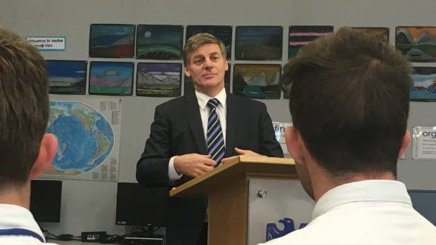Bill English visits Hamilton's Saint John's College - a catholic school - to tell the students about his life and politics.