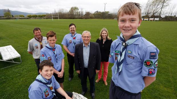 Marlborough scouts and leaders with Marlborough Mayor Alistair Sowman, centre, and council regional events strategy ...