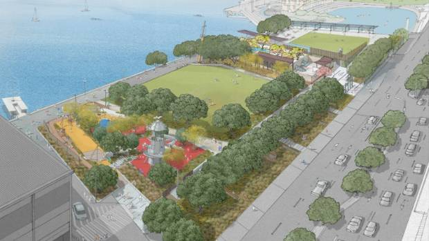 The proposed revitalization of Frank Kitts Park will remove the current wall, opening up harbour views.