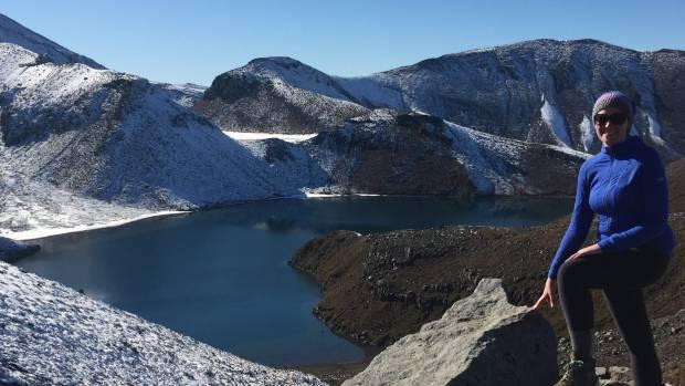 The view from the ridge above Upper Tama Lake, near Whakapapa village, in Tongariro National Park.
