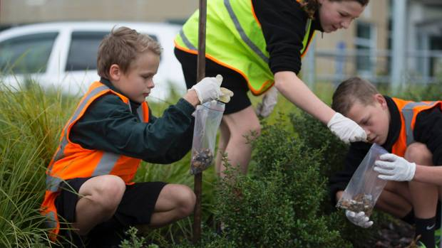 Ross Intermediate School pupils collect rubbish in the Palmerston North Hospital grounds. From left, Brooklyn Retter, ...