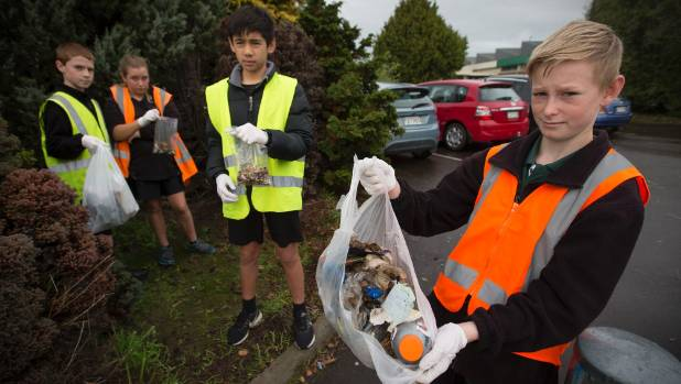 Ross Intermediate School pupils collected about 8 kilograms of rubbish in 45 minutes, at the Palmerston North Hospital ...