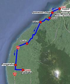 Route of the the three-day hikoi.