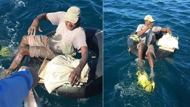 Man finds fisherman sailing indian ocean in a rubber tyre for Four man rubber life craft