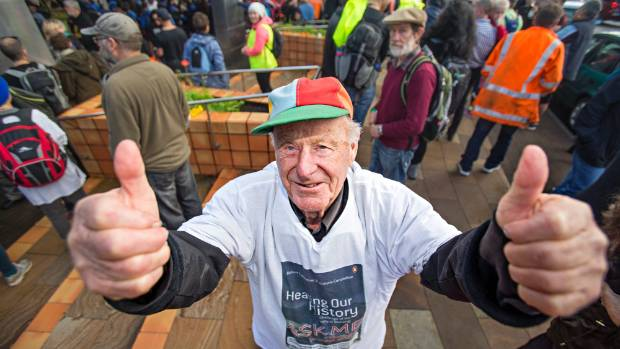 Pat Magill, 90, came to New Plymouth from Napier especially for the Peace walk.