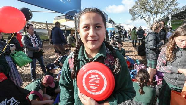 A freebie frisbee was part of Kaya Swann's haul at Fieldays.
