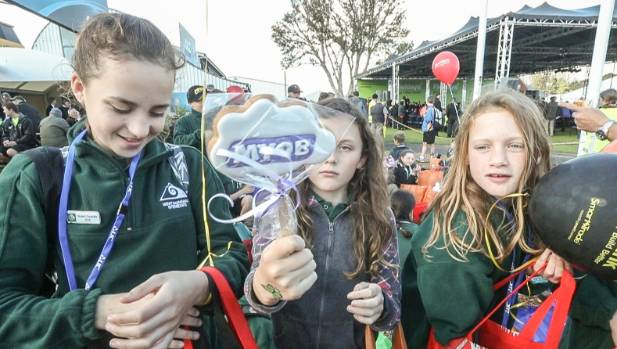 Free stuff with, from left, Maddie Donovan, 12, Lisa Turnwald, 11, and Ruby Clarke, 12, from Mount Maunganui Intermediate.