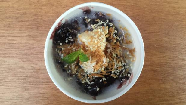 Black sticky rice pudding with lycees and coconut from Beat Kitchen, $6.