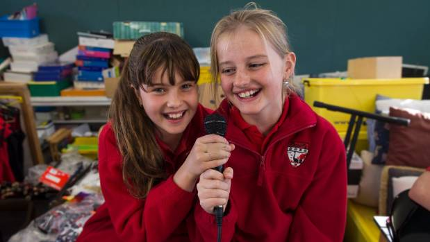 Pupils Jorja Williams, left, and Bella Hansen-Ratt during band practice.