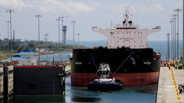A cargo ship in the new sets of locks on the Atlantic side of the Panama Canal, in Panama City.