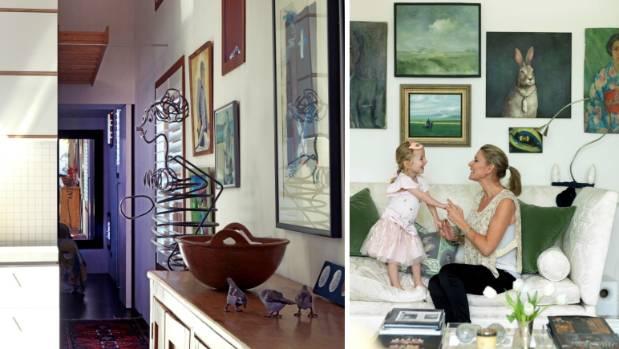 Art adorns the walls of Carolyn Hughes and Sandi O'Brien's home (left); and Bridget Foley's home (right).