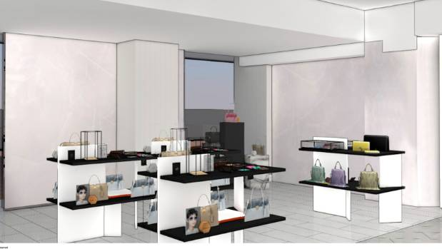A concept drawing showing what the accessory world in David Jones may look like in Wellington.