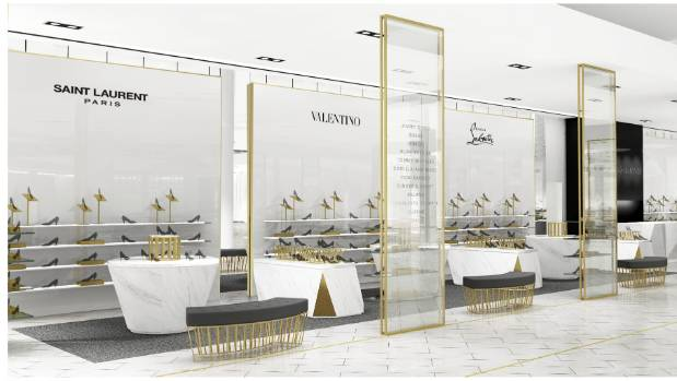 A concept drawing showing what the shoe department may look like at David Jones Wellington.