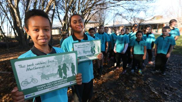 Aroha Huntley 10, left, and Moana Fuiava-Raj, 10, spoke in favour of smokefree parks and playgrounds as part of ...