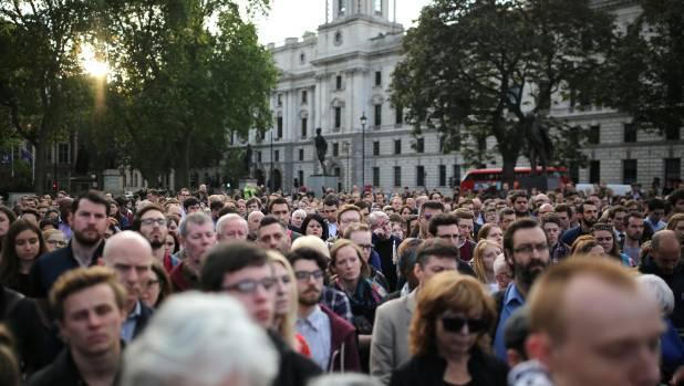 Crowds attend a vigil in memory of Labour MP Jo Cox in Parliament Square in London.