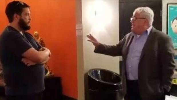 David D'Amato interrupting a screening of Tickled to confront Kiwi filmmaker Dylan Reeve.