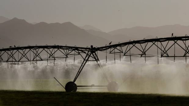Abstracted water used to irrigate a drought-stricken farm in North Canterbury.