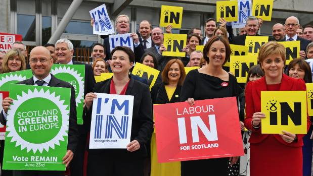 Scottish political parties join together to support remaining in the EU.