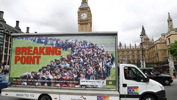 """UKIP, which is supporting the """"Leave"""" campaign, has come under fire for a banner showing refugees."""