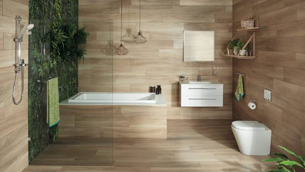 bathroom with a living wall and ceramic timber look tiles feature mico